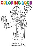 Coloring book detective theme 1