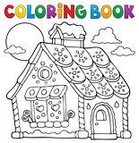Coloring book gingerbread house theme 1