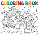 Coloring book gingerbread house theme 2