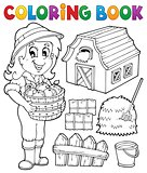 Coloring book girl and farm objects
