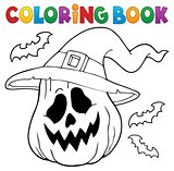 Coloring book pumpkin in witch hat