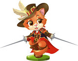 kitten musketeer with sword