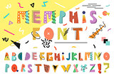 Memphis alphabet. Colorful funny font. Fashion 80s-90.