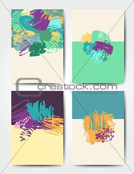 Grunge brush postcards