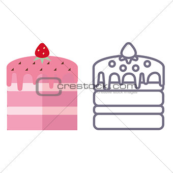 Cakes on white background.