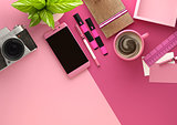 Pink Desktop Work Space Layout