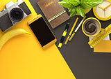 Office Desktop View with Business Objects in Yellow