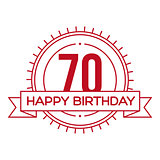 Happy Birthday Seventy years sign