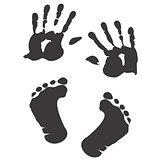 Children's handprint and footprint