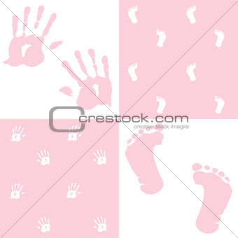 baby girl, handprint, footprint, vector set