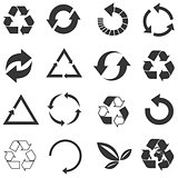 Recycled eco vector icon set