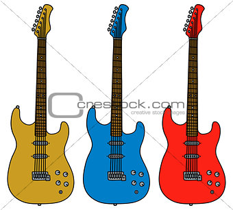 Three color electric guitars