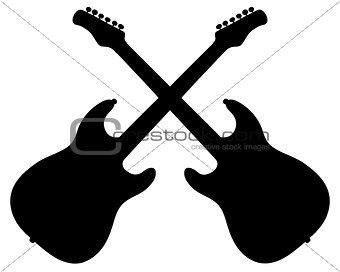 Black silhouettes of electric guitars