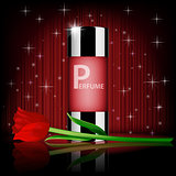 Romantic cosmetic set, rose perfume contained with red rose, isolated on red shiny background. Realistic perfume bottle 3d illustration