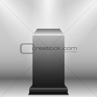 Black Pedestal with light source isolated on grey background, vector illustration.
