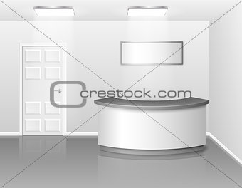 Office or hotel interior with reception or exhibition counter desk. 3d realistic vector illustration. Empty business interior hall with counter