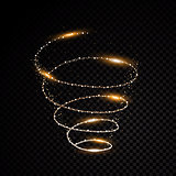 Golden particle abstraction spiral black background