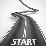 Start road. 3D Rendering