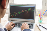 Businessman Analyze Stock Graph or Forex Graph by Laptop