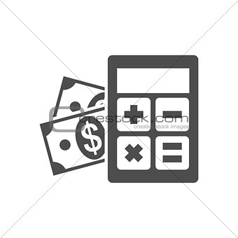 Calculator with money icon