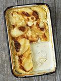 rustic golden scalloped potato gratin dauphinois