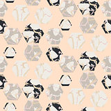 Marble stone hexagons seamless pale pink vector texture.