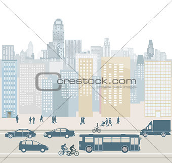Cityscape with street and traffic illustration
