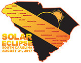2017 Solar Eclipse Across South Carolina Cities Map Illustration