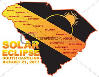 2017 Solar Eclipse Across South Carolina Cities Map Illustration