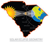 2017 Solar Eclipse Geometry Across South Carolina Cities Map Ill