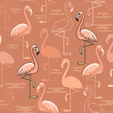Seamless  pattern of  hand drawn pink flamingo birds.