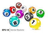 Vector Colorful Bingo balls lie in random order.