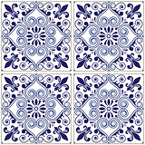 Portuguese tiles pattern - Azulejo navy blue design, seamless vector blue background, vintage mosaics set