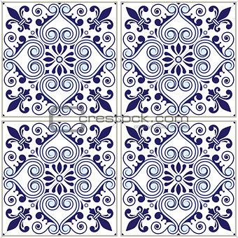 Portuguese tiles pattern - Azulejo navy blue design, seamless vector blue background, vintage mosaics set