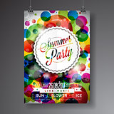 Vector Summer Party Flyer Design with typographic design on abstract color circles background.