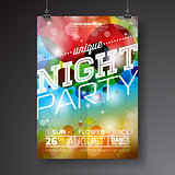 Vector Night Party Flyer Design with typographic design on abstract color circles background.