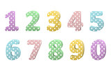 set of colorful volumetric numbers for birthday