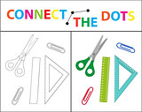 Children s educational game for motor skills. Connect the dots picture. For children of preschool age. Circle on the dotted line and paint. Coloring page. Vector illustration.