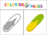 Coloring book page. Sketch outline and color version. Coloring for kids. Childrens education. Vector illustration.