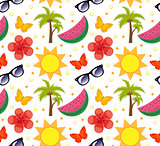 Summertime seamless pattern. Bright summer infinite background. Beach, vacation, sea theme repeating texture. Vector illustration.