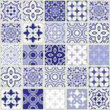 Veector navy blue tiles pattern, Azulejo - Portuguese seamless tile design, ceramics set