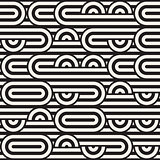 Seamless monochrome waving pattern. Abstract stripy background. Vector irregular round stripes design.