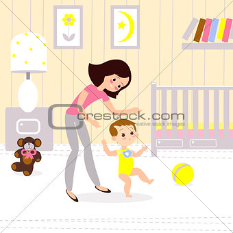 Mom and baby in the childrens room. The first seps of the child