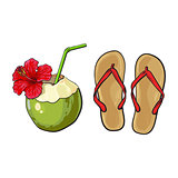 Pair of flip flops and coconut drink, summer vacation attributes