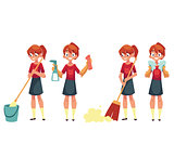 Teenage girl cleaning the house, doing chores, cartoon vector illustration