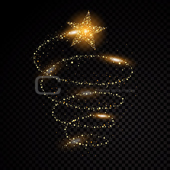 Gold glittering spiral star dust trail sparkling particles on transparent background. Space comet tail. Vector glamour fashion illustration.