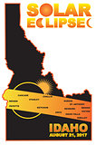 2017 Solar Eclipse Across Idaho Cities Map Illustration