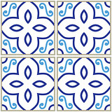Tiles pattern, Spanish or Portuguese tile blue background, Geometric designs
