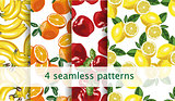 Vector seamless fruit pattern set. Repeating fruit pattern. Package, website design.