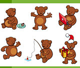 cartoon bear animal characters set